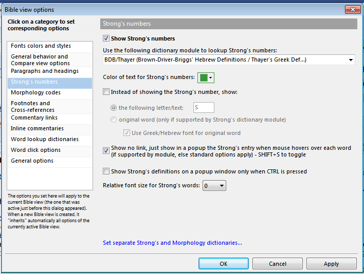 BibleView Options: Strong's Settings - TheWord Tutorial